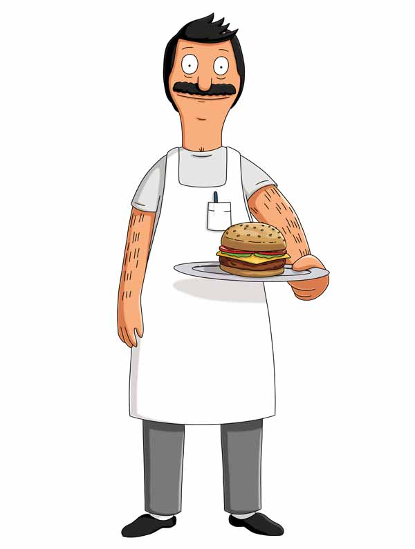 Bob Belcher...from Bob's Burgers...with a burger