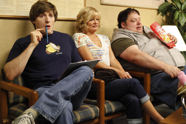 (L-R): Jimmy (Lucas Neff), Virginia (Martha Plimpton) and Gary (Brad Grunberg).