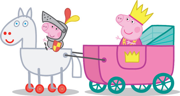 Peppa and George playing Knights & Princesses