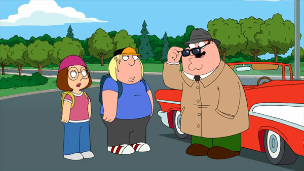 Peter tries to pull off the Sherlock Holmes look in Family Guy.