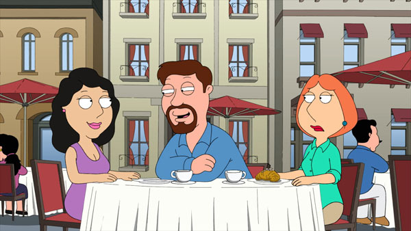 Lois looks disgusted as Bonnie is chatted up by a Frenchman