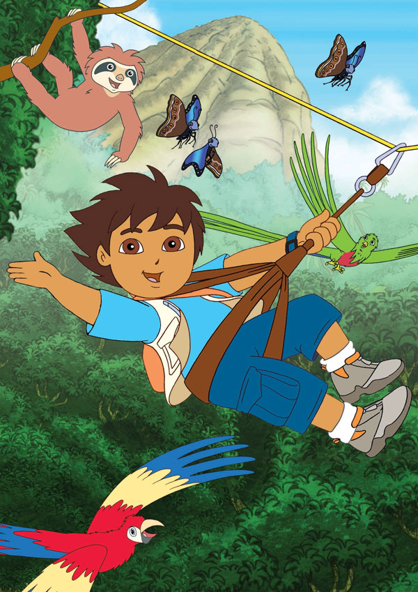 Diego goes swinging through the forest with all his friends.