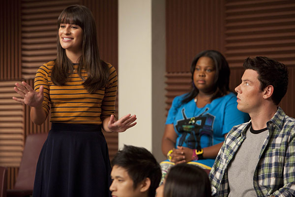 Rachel (Lea Michele), Mercedes (Amber Riley) and Finn (Cory Monteith)
