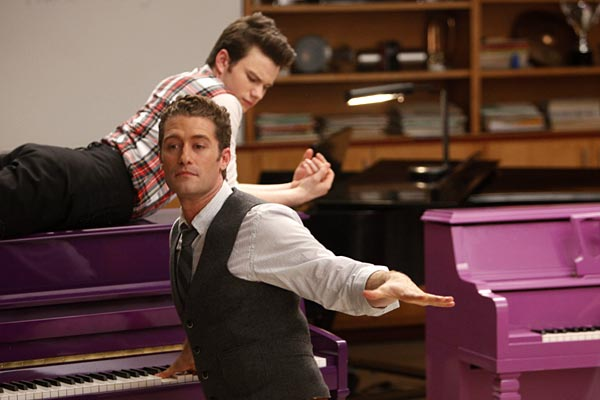 Will Schuester (Matthew Morrison) and Kurt (Chris Colfer)