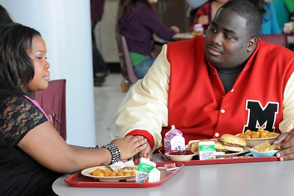 "Mercedes (Amber Riley) and Shane (LaMarcus Tinker) in ""Asian F."""