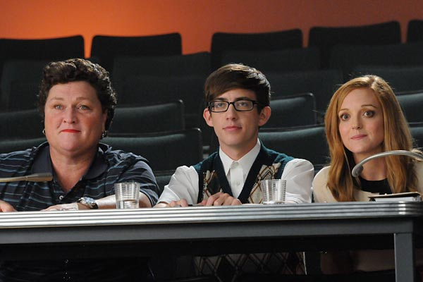 "Coach Beiste (Dot-Marie Jones), Artie (Kevin McHale) and Emma (Jayma Mays) in ""Asian F."""