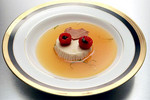 Panna Cotta, Cantaloupe Consommé and Raspberries Stuffed with Basil Pudding