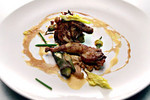 Espagnole- Quail with Pickled and Roasted Honshimeji Mushrooms, Garlic Scapes