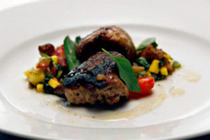 Quail Adobo and Ginger Rice with Green Mango Salsa