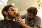Behind the Scenes - Monroe (played by Silas Weir Mitchell) gets made up