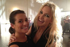 Lea Michele and Kate Hudson just hanging out on set