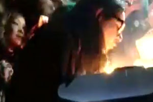 Skrillex's hair catches fire