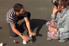 Cups trick with Jared Fell and Sharyn Casey