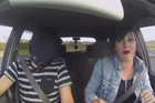Jared drives Sharyns car blindfolded